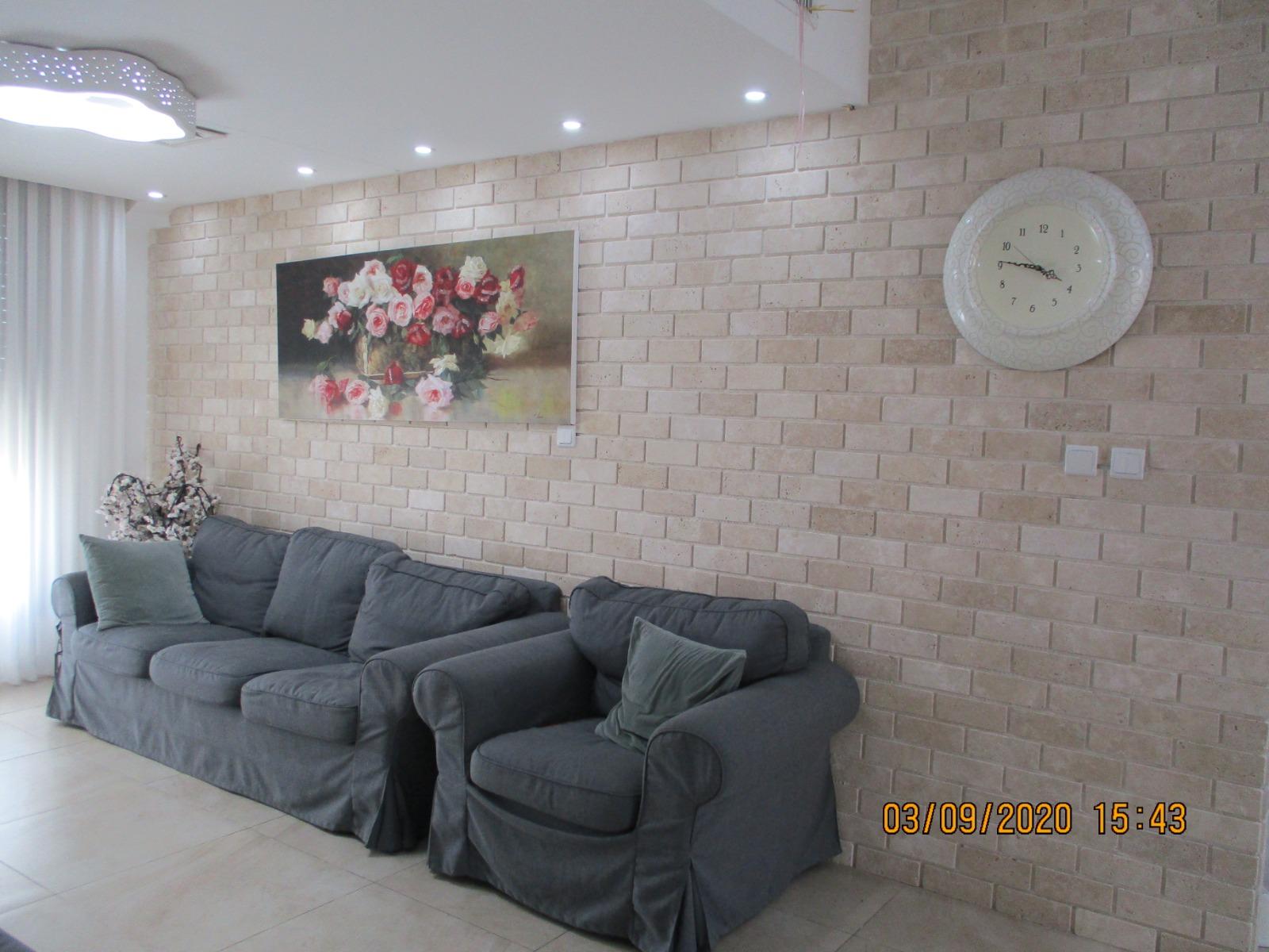בריקים מאבן טבעית בסלון