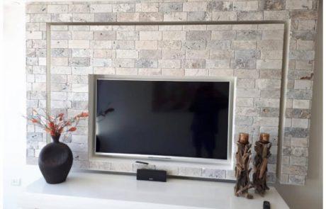 בריקים אבן טבעית אפור קיר סלון